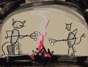 Zeichnung Teufel in der Hölle